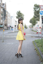 yellow pull&bear dress - red H&M bag - black Clarks sandals