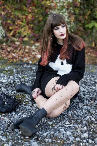 black Primark sweater - black H&M boots - black Only skirt