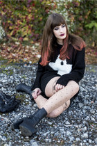 black Primark sweater - black H&M boots - black Only skirt