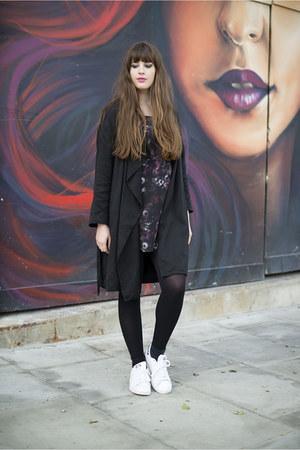black Adidas dress - black All Saints coat - white Adidas sneakers