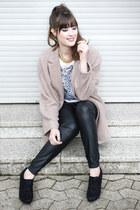 camel Primark coat - black Minimum pants