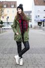 Olive-green-primark-jacket-red-primark-scarf-black-h-m-pants