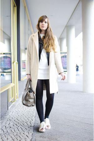 light brown Zara coat - white Adidas sneakers