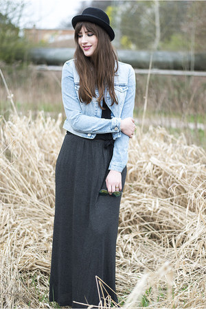 gray H&M skirt - light blue cross jacket