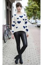 white Only sweater - black asos leggings
