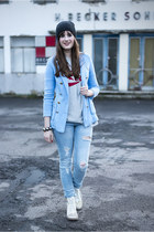 light blue H&M jacket - white bronx boots - sky blue H&M jeans