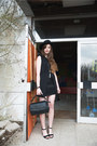 Dark-gray-misterlady-hat-black-bershka-skirt