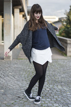 gray Primark cardigan - blue Mango shirt - white Zara skirt