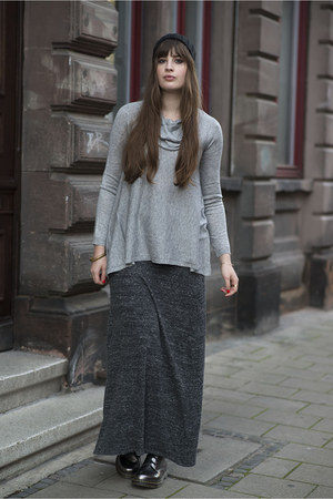 charcoal gray H&M skirt - charcoal gray Dr Martens boots