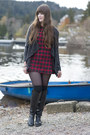 Black-roland-boots-red-forever-21-dress
