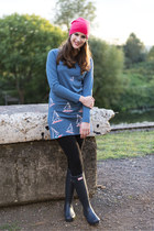 blue Brakeburn dress - blue Hunter boots - hot pink Primark hat