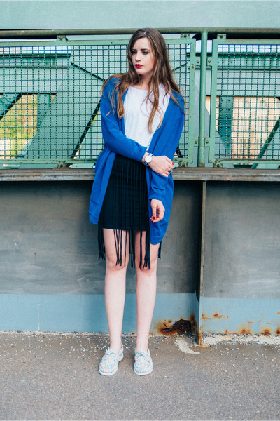white Sebago flats - blue armedangels cardigan - black New Yorker skirt