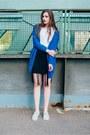 Blue-armedangels-cardigan-white-sebago-flats-black-new-yorker-skirt