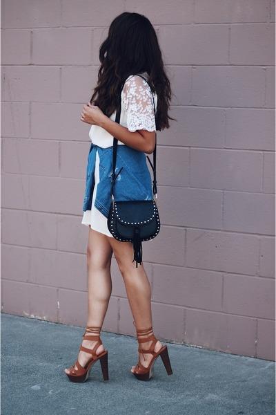 white dress - black Forever 21 bag - crimson sandals