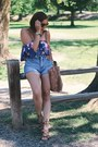 Blue-shorts-deep-purple-forever-21-top-dark-brown-forever-21-necklace