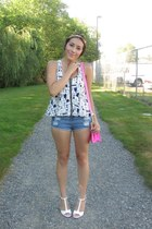 white OASAP heels - bubble gum bag - blue chicnova shorts