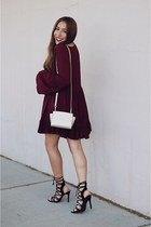 gold Michael Kors bag - crimson Sheinside dress