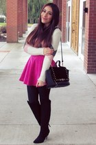 hot pink skirt - black boots - beige sweater