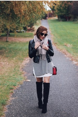 striped dress - black boots - black jacket - light brown scarf
