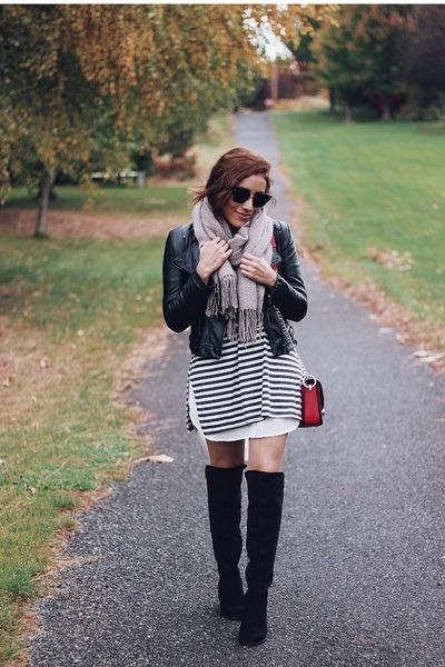 striped dress - black boots - black jacket - light brown scarf