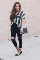black denim Sheinside jeans - black lace up Fashionjunkee flats