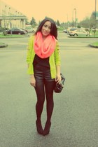 chartreuse cardigan - salmon scarf - black shorts