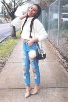 blue Sheinside jeans - eggshell TJ Maxx bag - beige Old Navy flats