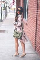 neutral flora Sheinside dress - olive green bag - beige lace up Old Navy flats