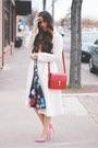 Black-floral-sheinside-dress-eggshell-eshakti-coat-ruby-red-bag