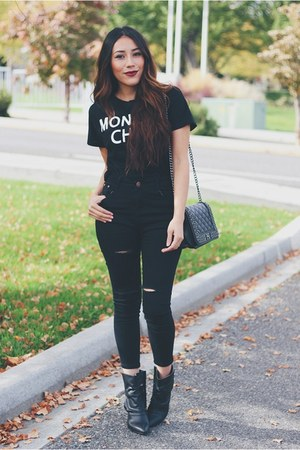 black AmiClubWear boots - black Sheinside jeans