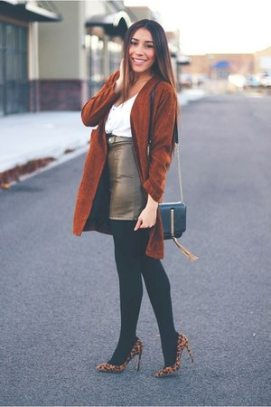khaki Sheinside coat - khaki Sheinside skirt