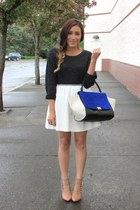 white Forever 21 skirt - blue Chicwish bag - nude Forever 21 heels