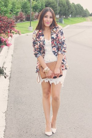 salmon Chicwish blazer - white Sheinside dress - burnt orange Old Navy bag