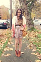 tawny Forever 21 boots - peach Forever 21 dress