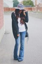 heather gray AmiClubWear hat - blue Macys jeans