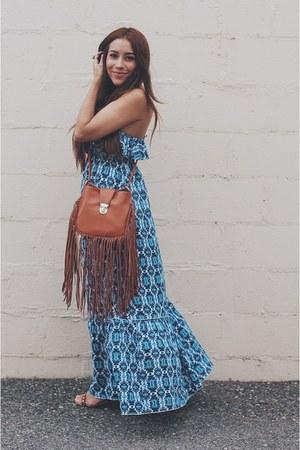 tawny fringe Sheinside bag - blue eShakti dress