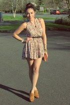 peach Forever 21 dress - tawny Jessica Simpson bag - tan Burlington heels