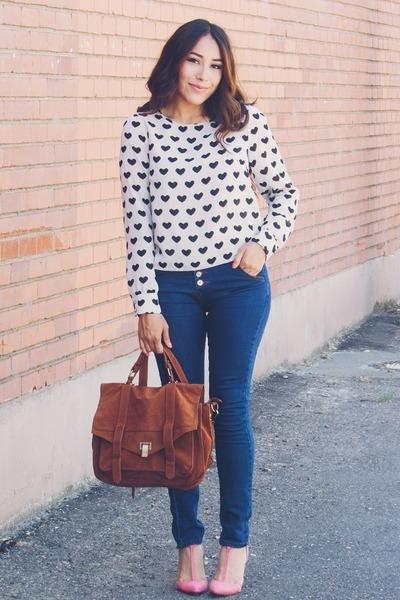 ivory H&M blouse - navy trendsgal jeans - crimson chicnova bag