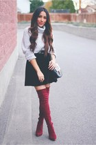 ruby red Lovelywholesale boots - heather gray Sheinside sweater