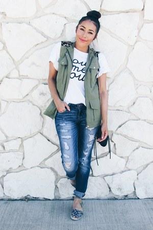 heather gray JustFab shoes - black zeroUV sunglasses - white Sheinside t-shirt