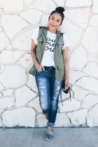 heather gray JustFab shoes - black zeroUV sunglasses - white Sheinside t-shirt