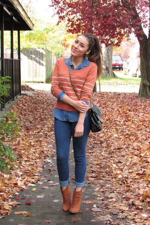carrot orange Forever 21 sweater - tawny f21 boots - blue material girl jeans