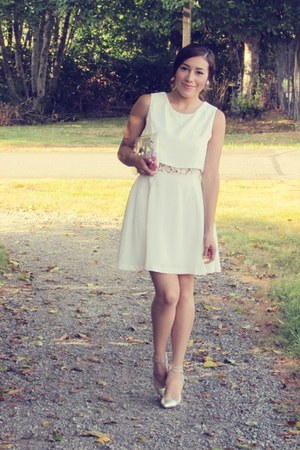 white Chicwish dress - Chicwish bag - silver heels
