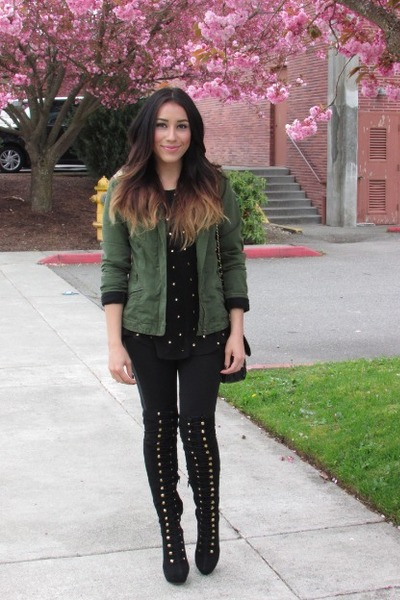 army green materia girl jacket - black boots