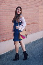 navy denim dress - black suede AmiClubWear boots