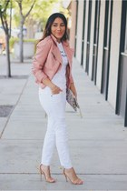 white denim jeans - nude Forever 21 shoes - pink Forever 21 jacket