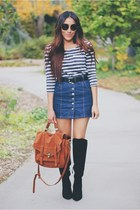 blue denim Topshop skirt - black Forever 21 boots - tawny chicnova bag
