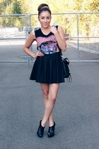 black VJ-style bag - pink t-shirt - black Forever 21 skirt
