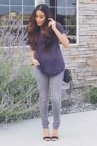 periwinkle denim jeans - purple Dantelle top - black Charlotte Russe heels