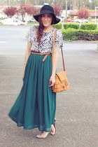 dark green Chicwish skirt - tawny OASAP bag